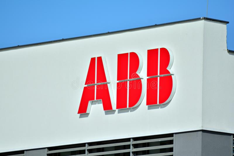 Sign ABB. Company signboard ABB. stock photos