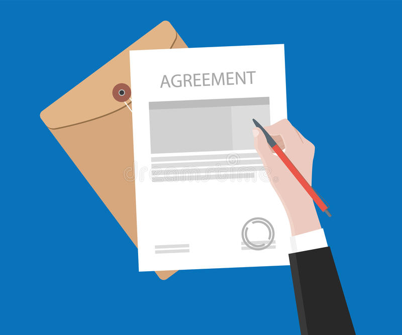 Sign agreement contract on paper document with stamp royalty free illustration