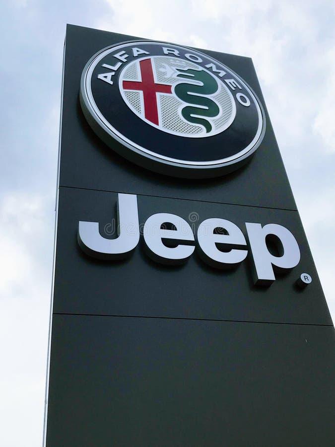Sign of ALFA ROMEO Jeep royalty free stock photos