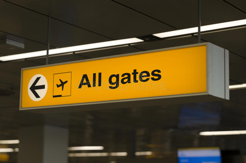 Sign all gates airport. Sign with direction to all gates stock images