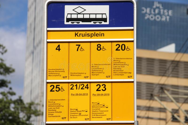 Sign of all tram streetcars which stops at stop Kruisplein in Rotterdam in the Netherlands. royalty free stock images