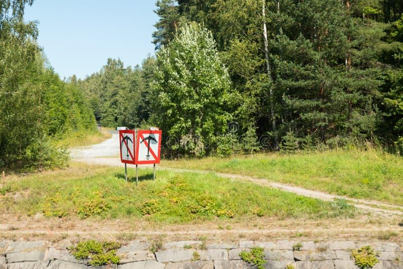 The sign anchor on the Saimaa Canal at summer, Lappeenranta, Finland.  stock photos