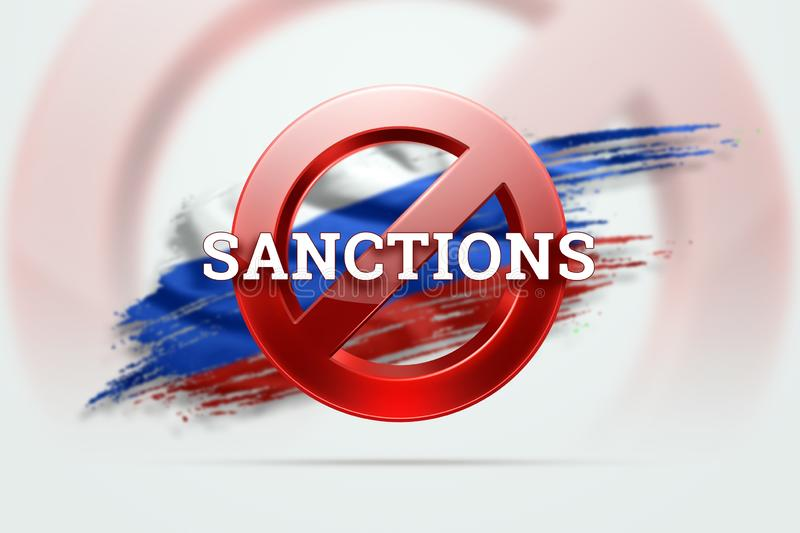 The sign of the ban, the inscription of the sanctions on the flag of Russia. Concept of sanctions and embargo, import ban, stock illustration