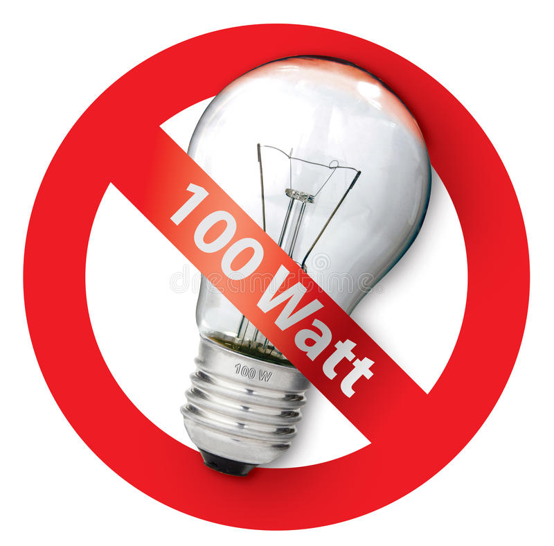 Download Sign Ban For Old-style 100-watt Light Bulbs Stock Image - Image: 10700611