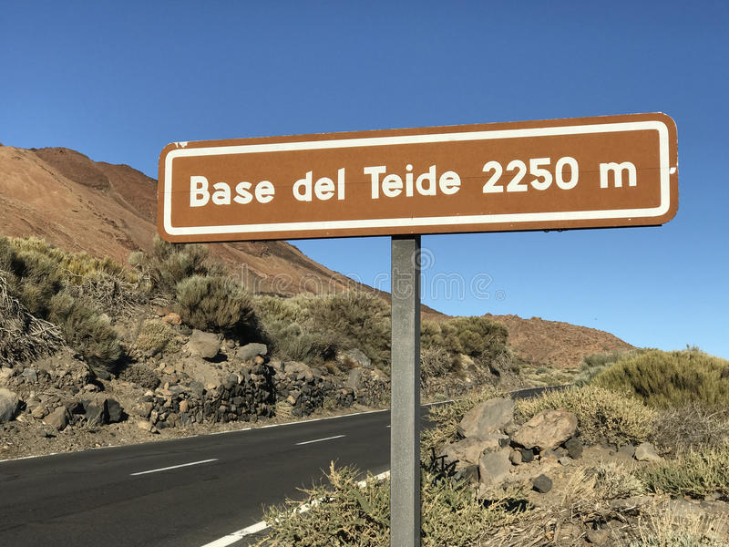 Sign from Base del Teide. Sign from Mount Teide a volcano on Tenerife in the Canary Islands stock image