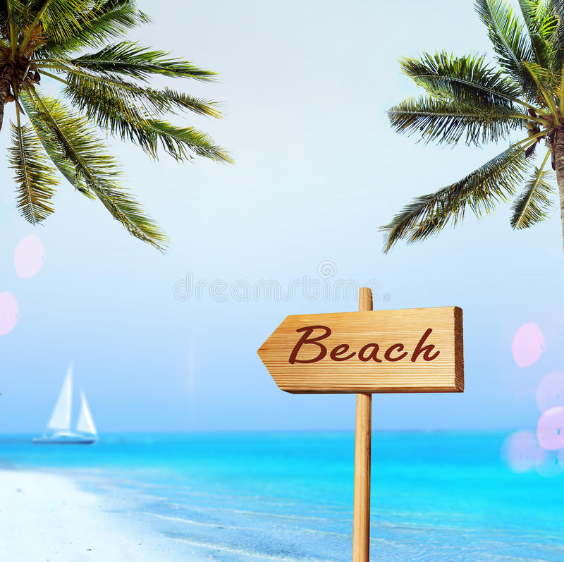 Download Sign and beach stock image. Image of palm, relax, calm - 25739807