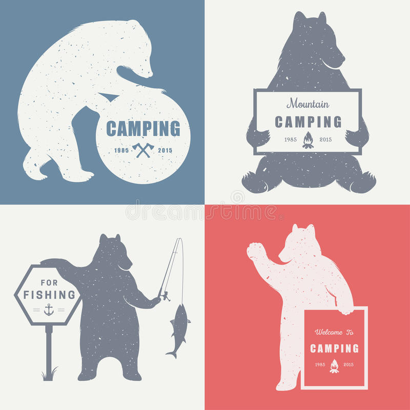 Sign Bear Camping stock illustration