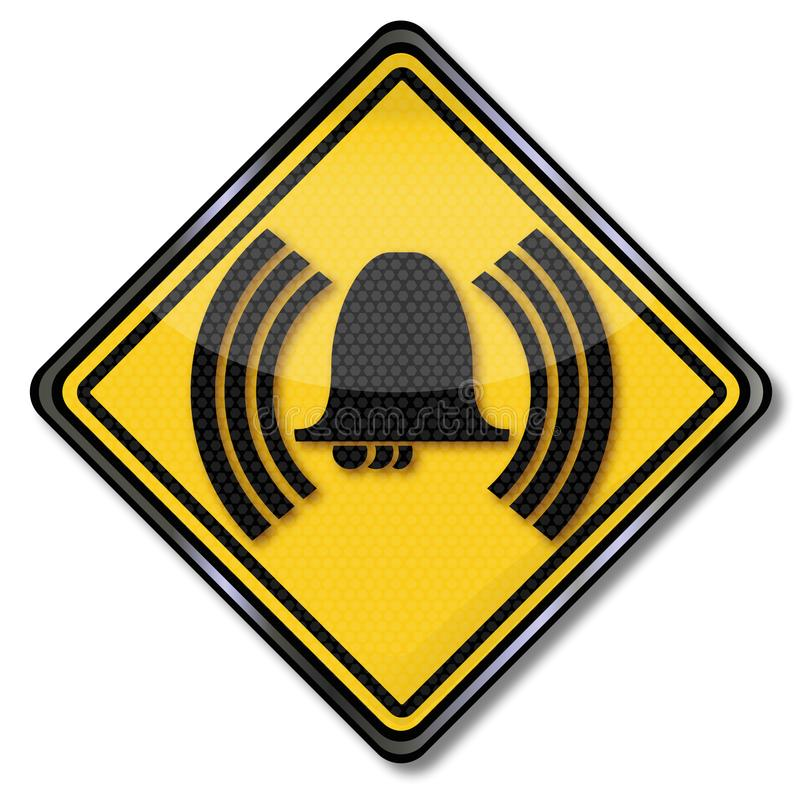 Sign bell and noise. In a hotel royalty free illustration