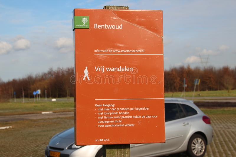Sign of the Bentwoud forest entrance stock images