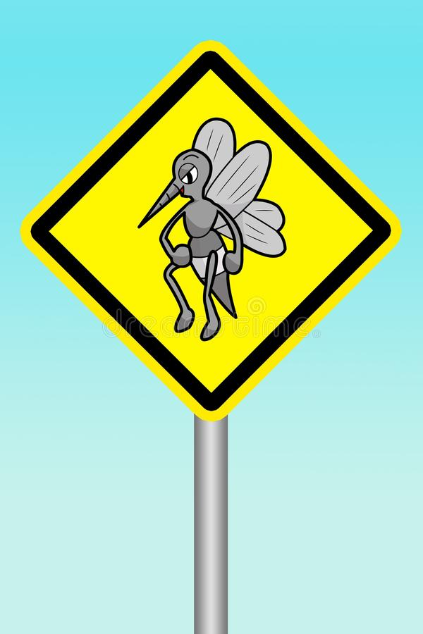 Sign beware of mosquitoes. Yellow sign beware of mosquitoes royalty free stock photo