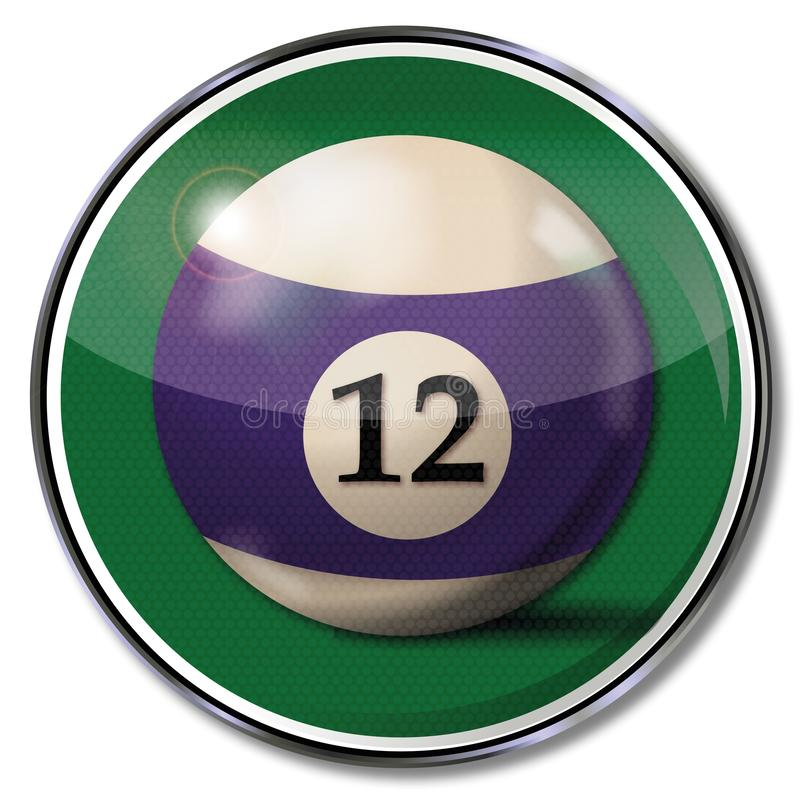 Sign with the billiard ball number 12. Sign with the billiard ball number twelve royalty free illustration