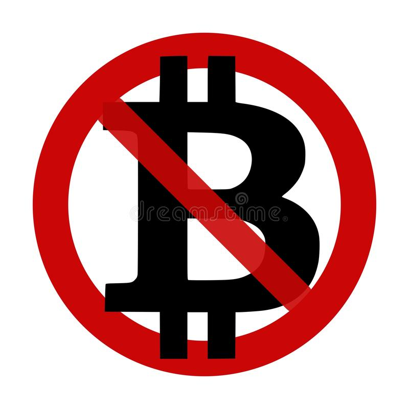 Sign: Bitcoin NOT accepted here royalty free illustration