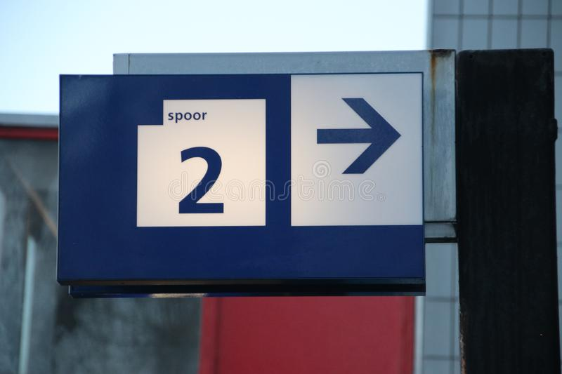 Sign in blue to platform number 2 on the Voorburg railway station in the Netherlands. royalty free stock photos