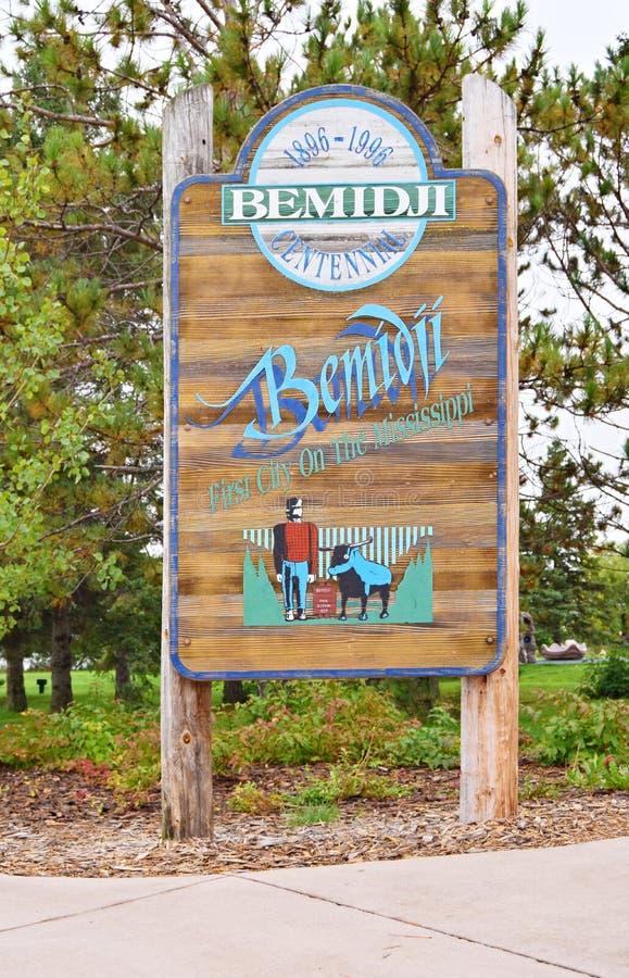 Sign board Bemidji, MN with Paul Bunyan. Legendary Lumberjack stock photo