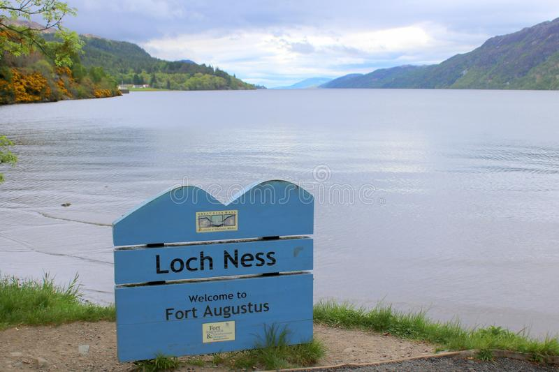 Sign board for Loch Ness. The sign board for Loch Ness at Fort Augustus in the Highlands of Scotland stock photo