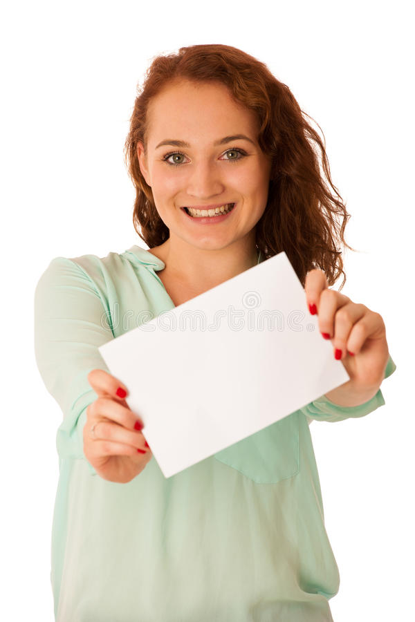 Free Sign Board. Woman Holding Big White Blank Card. Positive Emotion Stock Image - 77002011