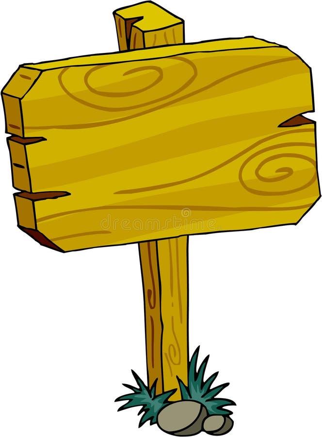 Sign Board - Wood. Wooden sign board cartoon line-art stock illustration