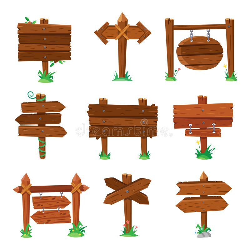 Sign boards in green grass. Wooden plank road signs, wood signboard or isolated signpost board cartoon vector set stock illustration