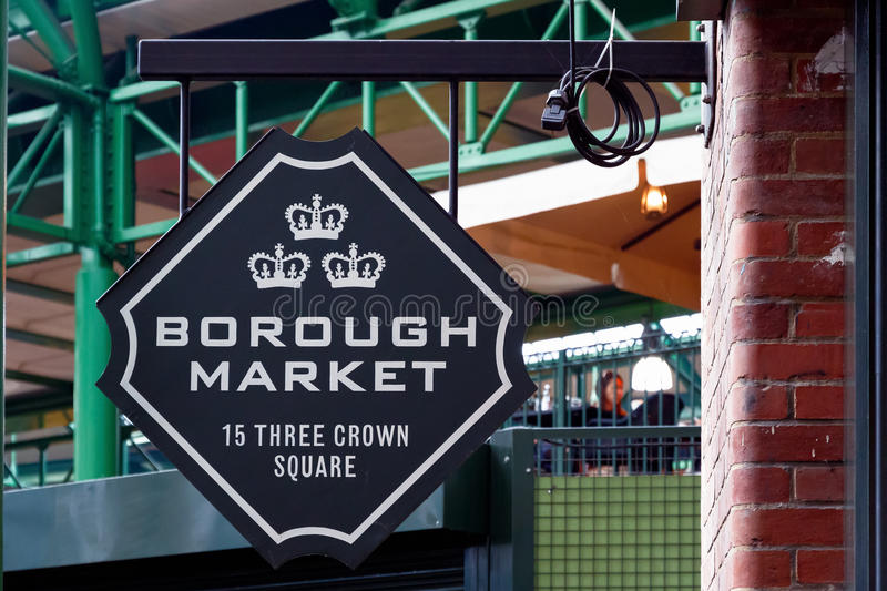 Sign of Borough Market in London stock photos