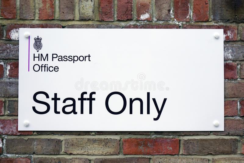 Sign for the British HM Passport Office. DURHAM, ENGLAND - The British passport office building in Durham. The number of British citizens applying for foreign royalty free stock photos