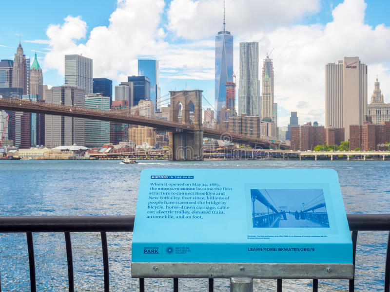 Sign at the Brooklyn Bridge Park telling the history of the Broo. NEW YORK, USA - AUGUST 20, 2015 : Sign at the Brooklyn Bridge Park telling the history of the royalty free stock photo