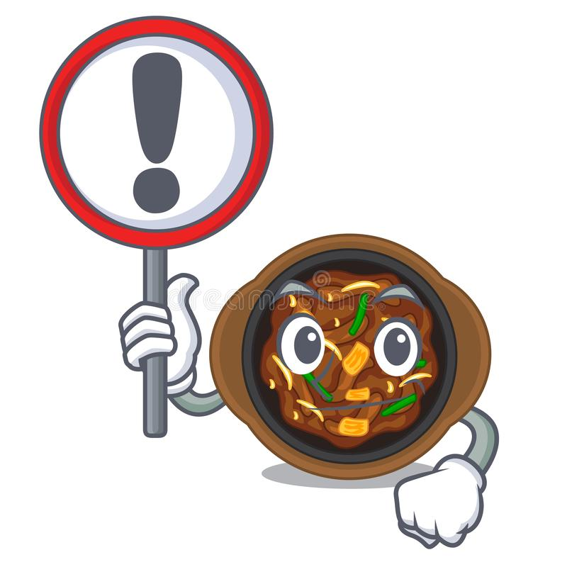 With sign bulgogi is served on mascot plate. Vector illustration vector illustration