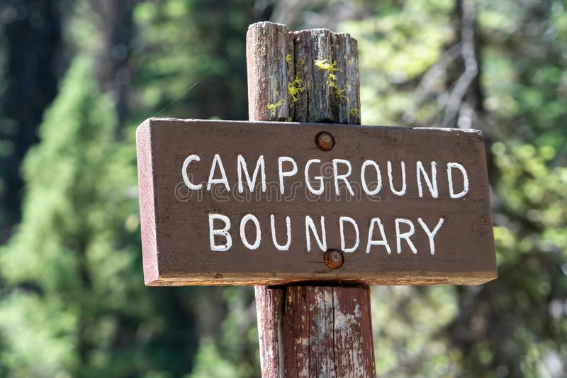 Sign for a campground boundary. In Idaho`s Sawtooth National Forest royalty free stock photo