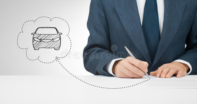 Sign car insurance. Leasing or rental agreement or another car related document royalty free stock image