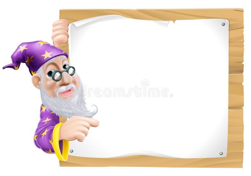 Sign Cartoon Wizard stock illustration