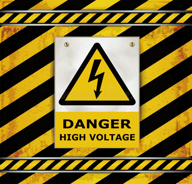 Download Sign Caution Blackboard Danger High Voltage Stock Vector - Illustration of rusty, scratches: 29967549