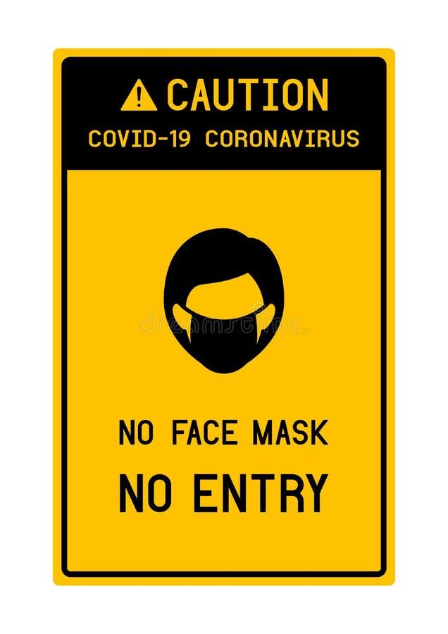 Free Sign Caution No Face Mask No Entry Avoid COVID-19 Coronavirus Royalty Free Stock Image - 178736426
