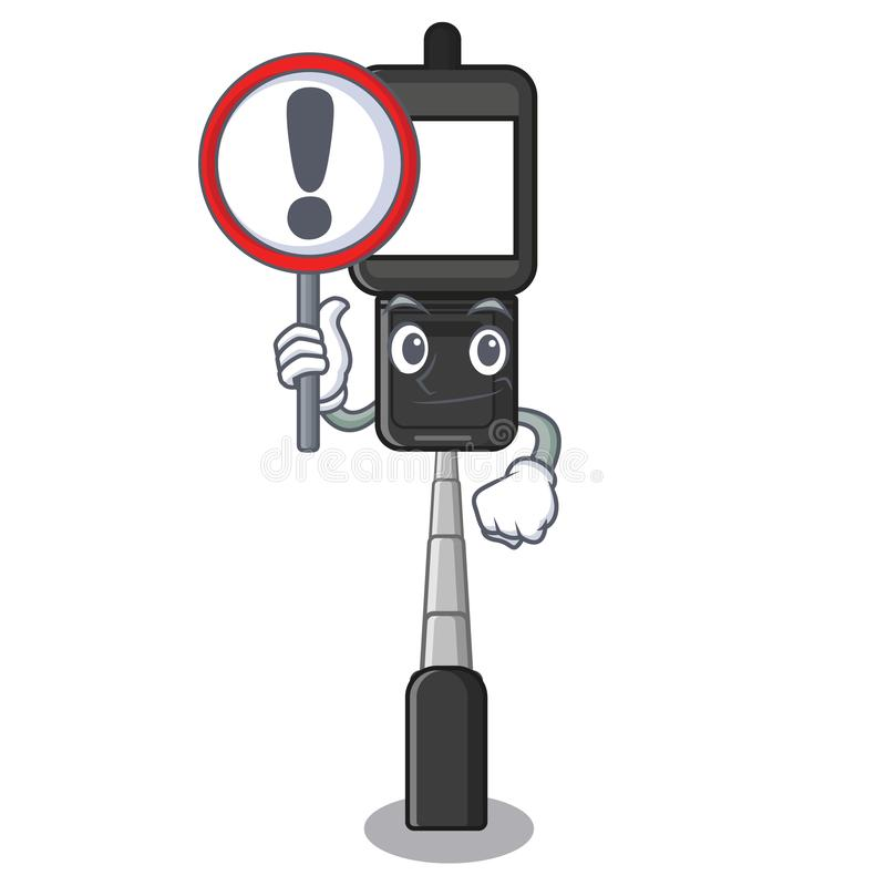 With sign cell phone holder in cartoon shape stock illustration