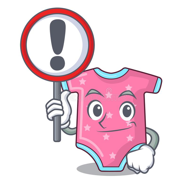 With sign character baby clothes hanging on clothesline. Vector illustration stock illustration