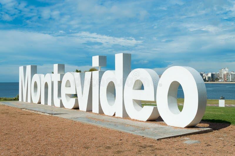 MONTEVIDEO, URUGUAY - FEBRUARY 1, 2017: Restoration of Montevideo sign. Restoration of Montevideo sign in Uruguay stock images