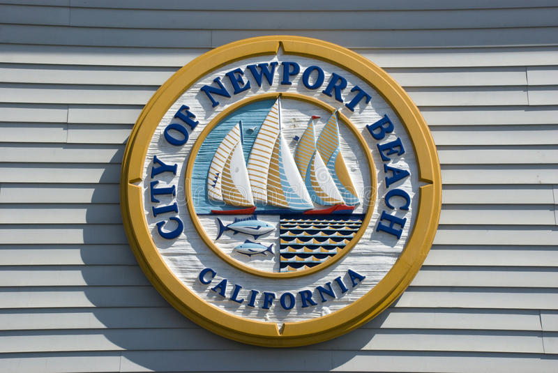 Sign of City of Newport Beach, Orange County - California. Newport Beach, USA - May 2016: Sign of City of Newport Beach on Life Guards Headquarter, Orange County stock image