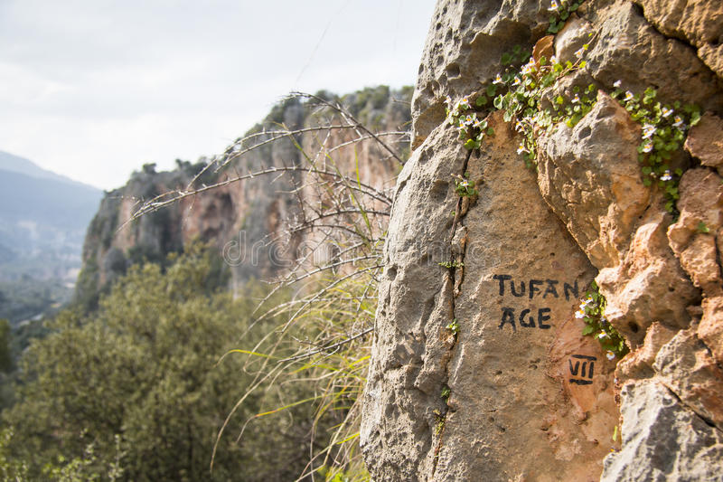 A sign of a climbing route stock photography