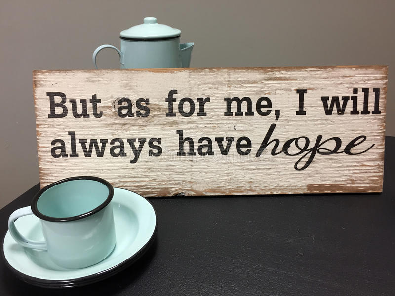 Download Hope sign for a coffee bar stock photo. Image of leave - 92495880