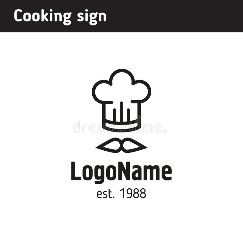 Sign cook in a cap royalty free illustration