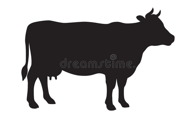 Sign cow black silhouette. Farm animals royalty free illustration
