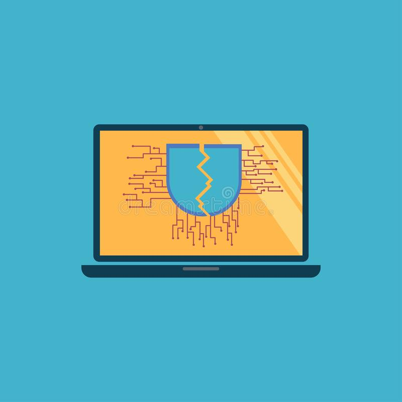 Sign of cracked shield with vulnerable on notebook monitor stock illustration