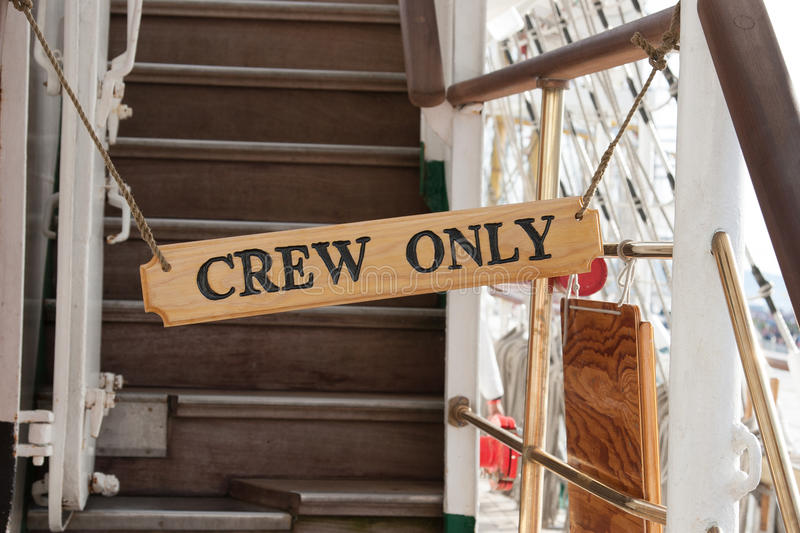 Sign of crew only stock images