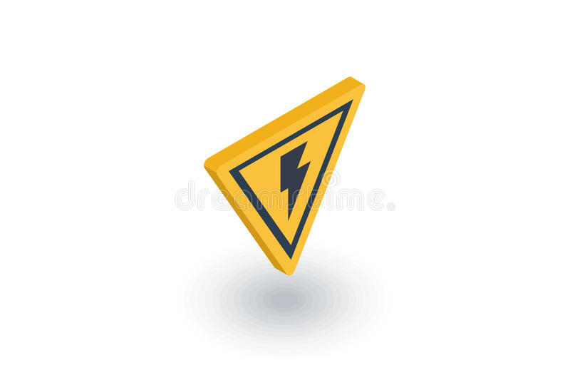 Sign of danger, high voltage isometric flat icon. 3d vector royalty free illustration