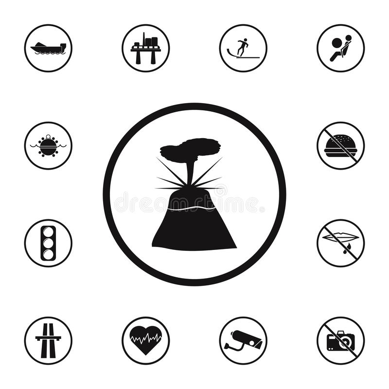 Sign dangerous volcano icon. Detailed set of Warning signs icons. Premium quality graphic design sign. One of the collection icons. For websites, web design stock illustration
