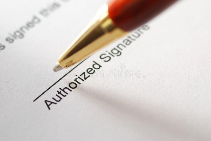 Sign del contratto fotografie stock libere da diritti
