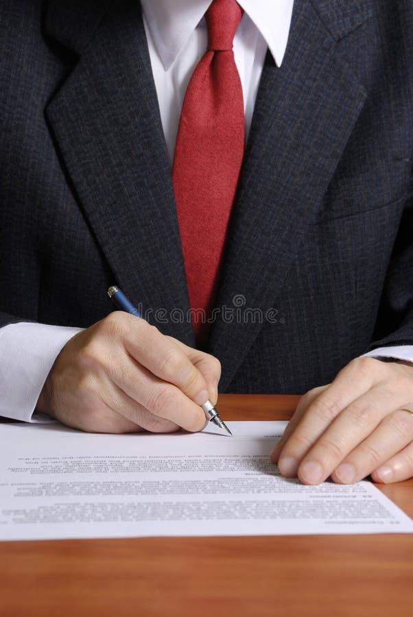 Sign del contratto immagini stock