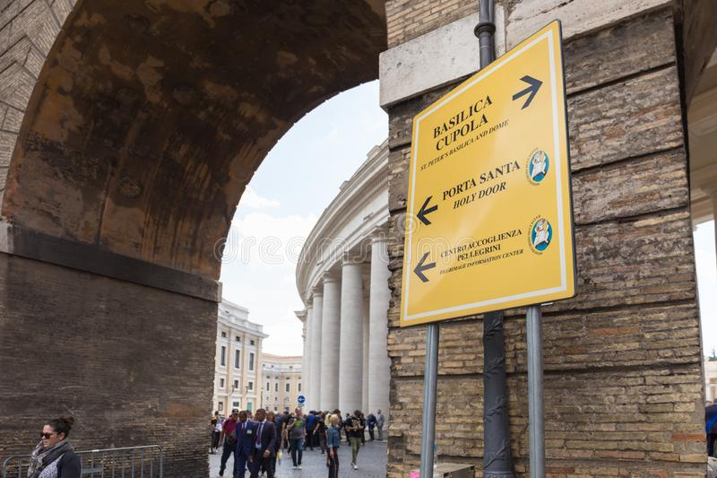 Sign detail at the entrance of Saint Peter`s Square, Vatican City. royalty free stock photography