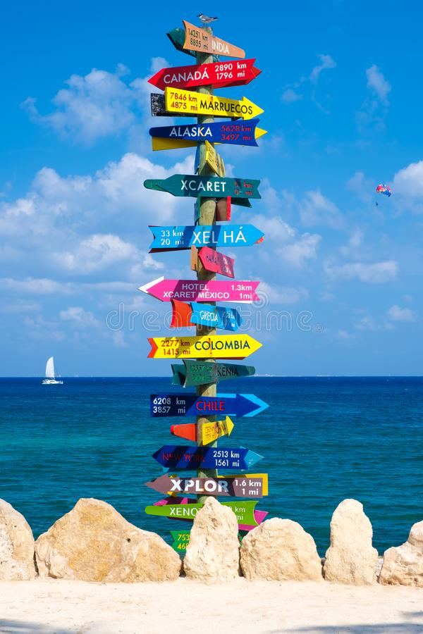 Sign with directions to all the parks owned by the XCaret group in Mexico. XCARET,MEXICO - APRIL 16,2019 : Sign with directions to all the parks owned by the stock image