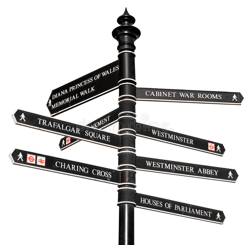 Sign with directions to London's landmarks stock photos