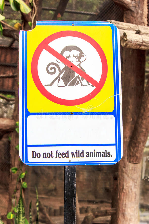 Sign do not feed wild animals stock image