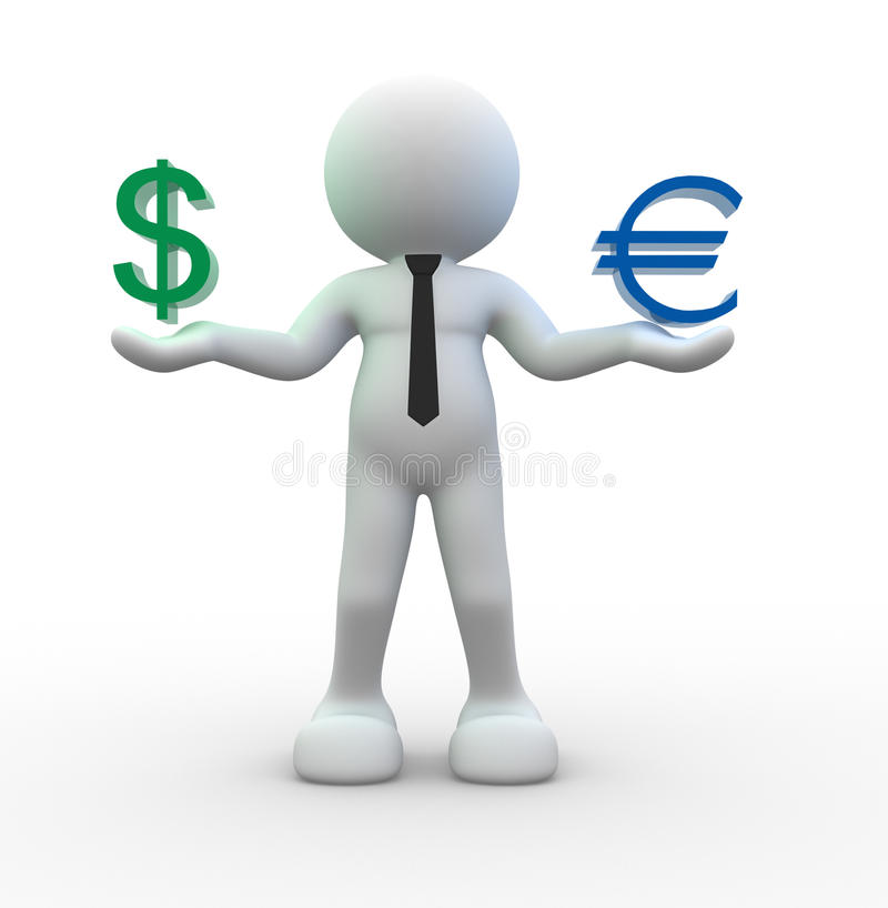 Download Sign dollar and  euro stock illustration. Image of economic - 26250978